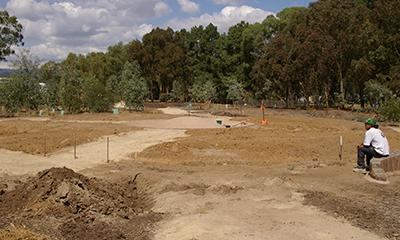 Reviewing progress, Lochiel Park, Malone & Telfer